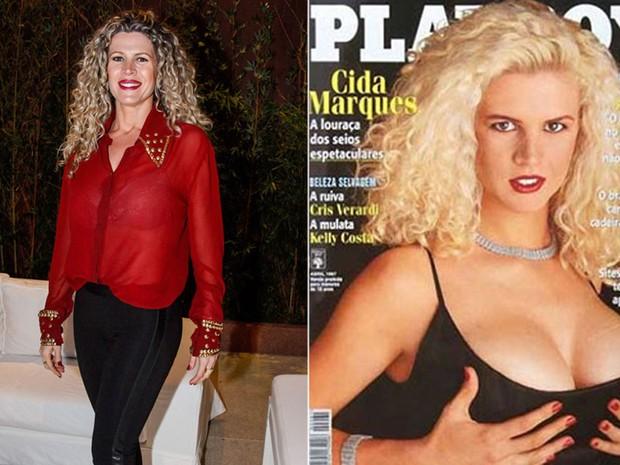 Cida Marques em evento em São Paulo e na capa da Playboy em abril de 1997 (Foto: Marcos Ribas/ Foto Rio News e Reprodução)