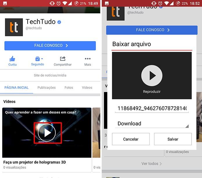 Usuário precisa tocar no vídeo do Facebook para que Opera ofereça o download (Foto: Reprodução/Elson de Souza)
