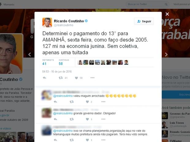 Ricardo Coutinho usou rede social para anunciar pagamento nesta sexta-feira (17) (Foto: Reprodução/Twitter/@realrcoutinho)