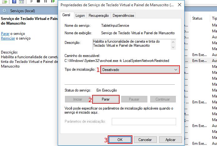 Parando e desativando o teclado touch no Windows (Foto: Reprodução/Edivaldo Brito)