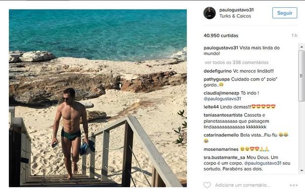 Thales Bretas, marido de Paulo Gustavo, em foto postada pelo humorista no Instagram. Casal curte férias em Turks and Caicos (Foto: Reprodução/Instagram)