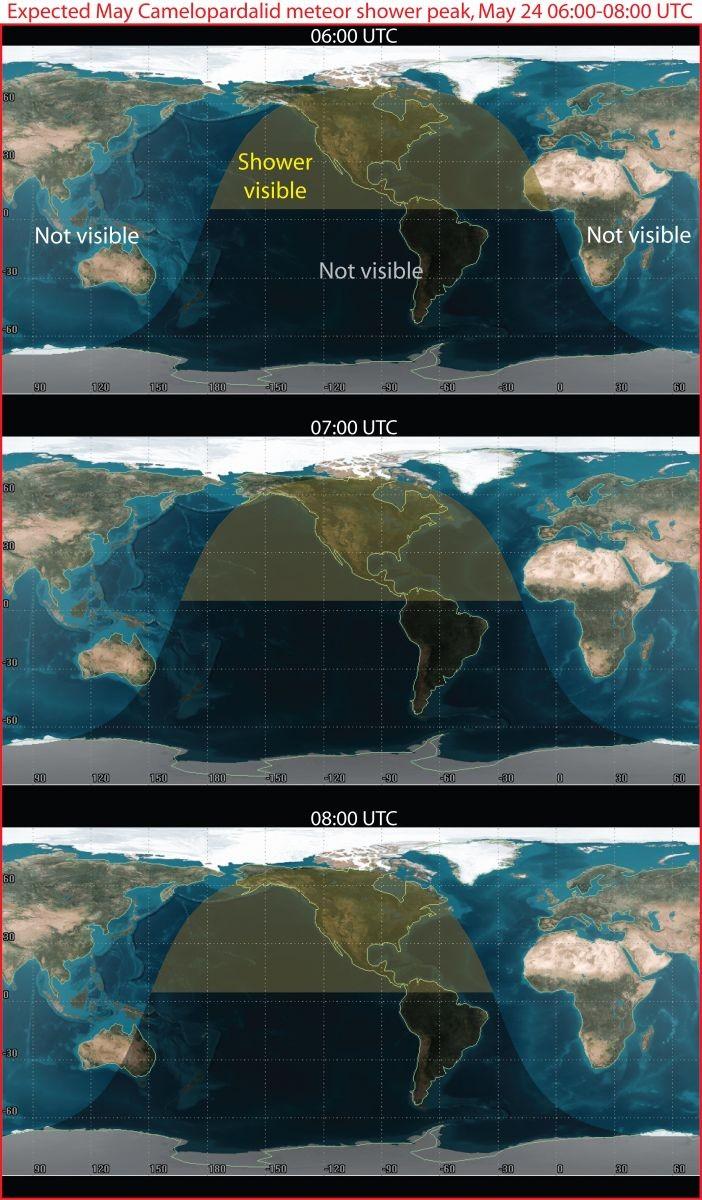 Área em amarelo é onde chuva de meteoros poderá ser vista na América do Norte (Foto: Nasa)