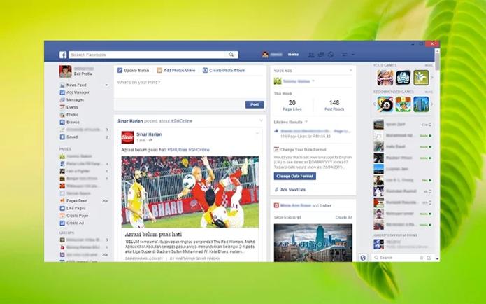 App Launcher coloca o Facebook em uma janela própria no PC (Foto: Reprodução/Paulo Alves)
