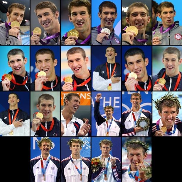 combo montagem michael phelps medalhas olimpíadas (Foto: Agência AFP)