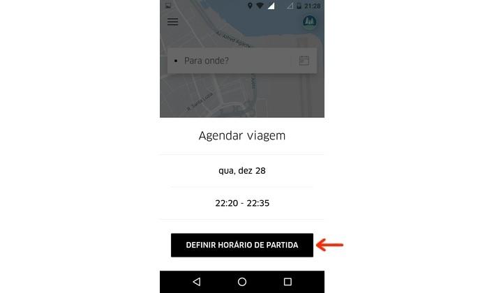 Confirmação de dia e horário de corrida programada do Uber (Foto: Reprodução/Raquel Freire)