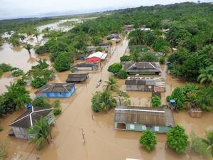 Áreas atingidas pela cheia do Rio Madeira aumenta (Foto: Defesa Civil/Divulgação)