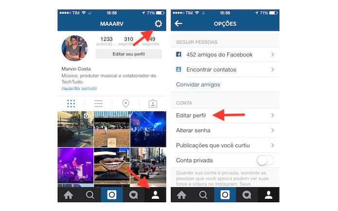 Acessando a página de edição de perfil do Instagram no celular (Foto: Reprodução/Marvin Costa)