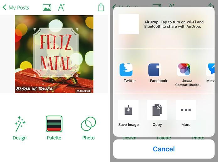 Adobe Post pode salvar imagem na galeria do telefone ou compartilhar em redes sociais (Foto: Reprodução/Elson de Souza)