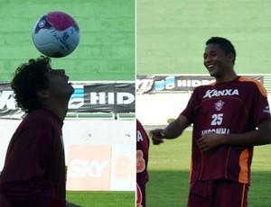 Neylor e Gabriel treinam no Boa Esporte (Foto: Tiago Campos / Globoesporte.com)