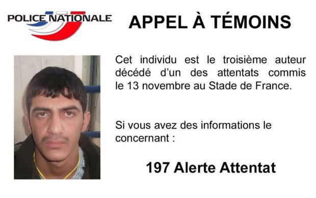 Polícia francesa publicou foto do terceiro homem-bomba de ataque ao Stade de France no Twitter (Foto: Reprodução/Twitter/@PNationale)