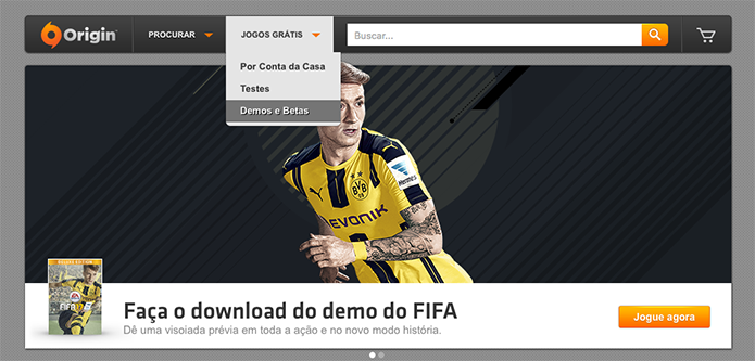 Procure a demo do Fifa 17 no Origin (Foto: Reprodução/Murilo Molina)