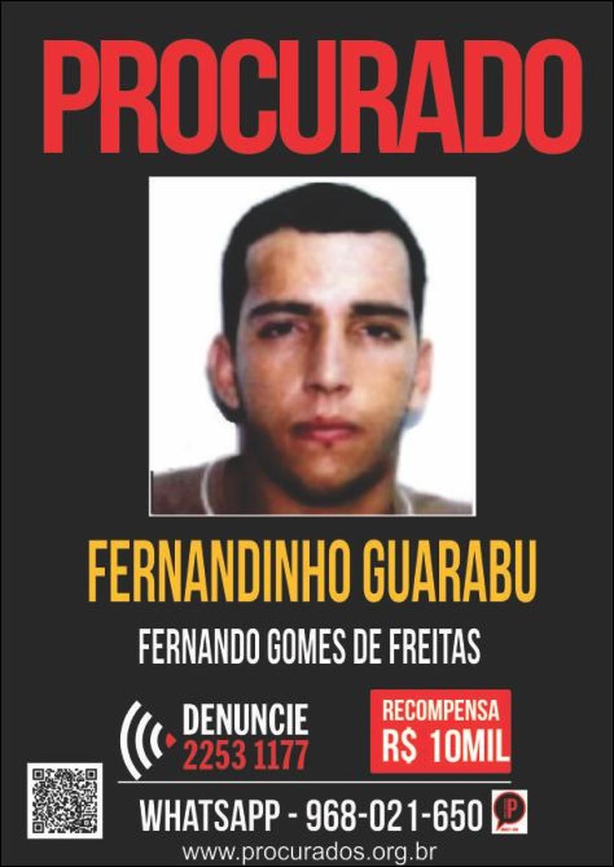 Disque-Denúncia oferece R$ 10 mil por informações que levem à prisão de Guarabu (Foto: Divulgação/Disque-Denúncia)