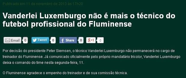 Luxemburgo não é mais técnico do Fluminense (Foto: Divulgação)