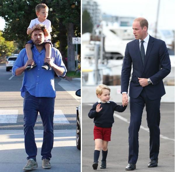 O ator Ben Affleck com o filho Samuel e o Príncipe William com o filho George (Foto: Instagram/Getty Images)