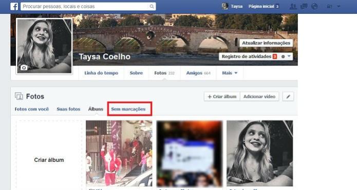 """Acesse a pasta """"Sem marcações"""" e confira todas as suas fotos sem tags no Facebook (Foto: Reprodução/Taysa Coelho)"""
