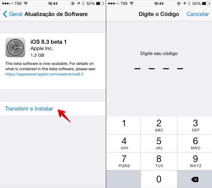 Baixando o iOS 8.3 Beta (Foto: Reprodução/Helito Bijora)