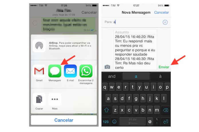 Encaminhando mensagens do WhatsApp do iPhone por SMS (Foto: Reprodução/Marvin Costa)