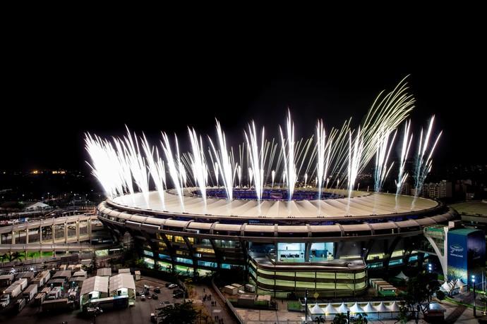 Ensaio cerimônia de abertura Maracanã fogos (Foto: Buda Mendes/Getty Images)