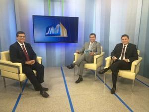 Governador eleito Flávio Dino (PC do B) grava entrevista no JMTV 1ª Edição (Foto: Zeca Soares / G1)