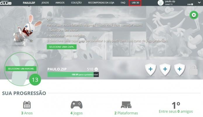 Ubisoft Club: acesse a seção Ubi 30 para visualizar o jogo gratuito do mês (Foto: Reprodução/Paulo Vasconcellos)