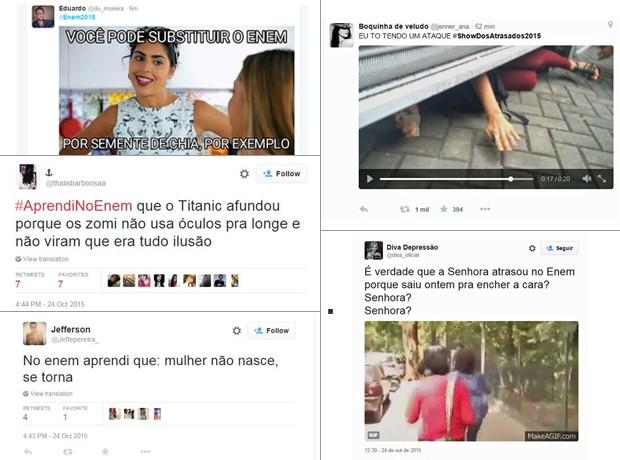Memes fizeram Enem ultrapassar a marca de um milhão de tuítes neste sábado (Foto: Reprodução/Twitter)