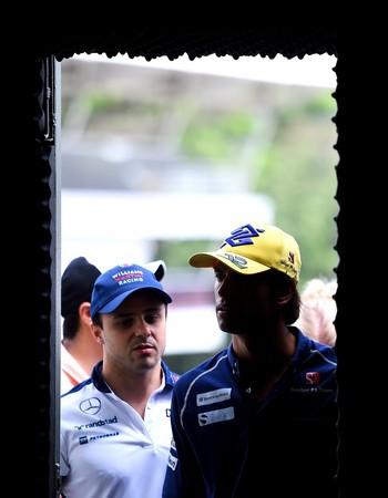 """Os """"donos da casa"""" Felipe Massa e Felipe Nasr chegam a Interlagos para coletiva desta quinta-feira (Foto: Getty Images)"""