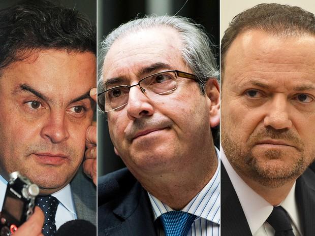 Montagem Aécio Neves, Eduardo Cunha e Edinho Silva (Foto: José Cruz/Agência Brasil e Marcelo Camargo/Agência Brasil )
