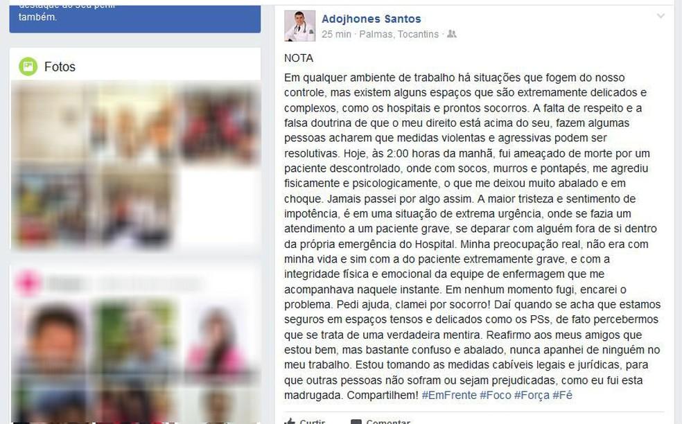 Postagem feita por médico em rede social (Foto: Reprodução/Facebook)