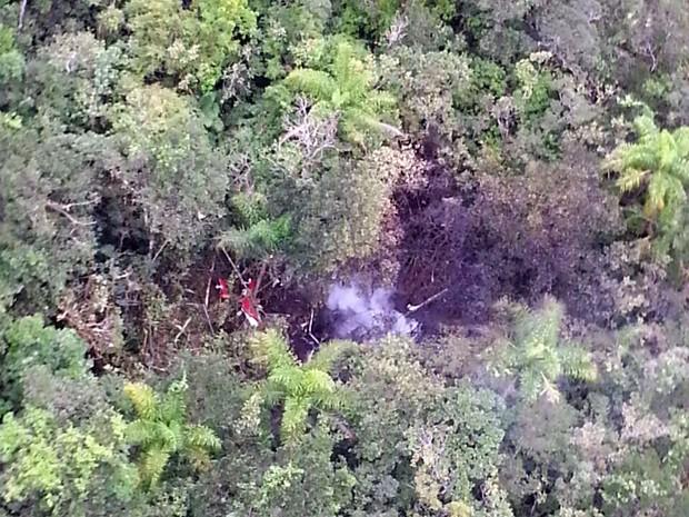 Aeronave cai em Bertioga, no litoral de SP, e mata pelo menos quatro pessoas (Foto: Divulgação/Polícia Militar)