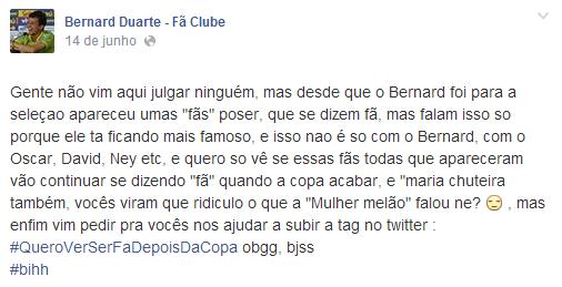 Post em página dedicada ao jogador Bernard (Foto: Reprodução/Reprodução)