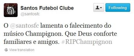 Champignon, Santos, Twitter (Foto: Reprodução / Twitter)