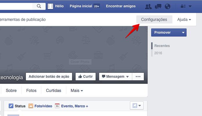 Abra as configurações da página (Foto: Reprodução/Helito Bijora)