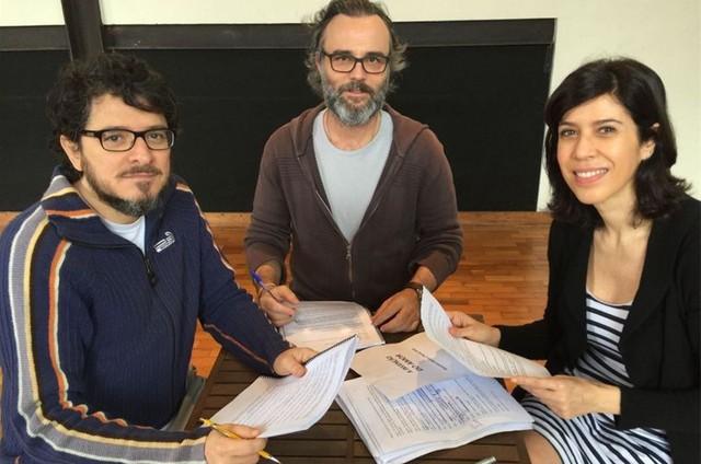 Guilherme Piva, Marcelo Valle e Maria Clara Gueiros  (Foto: Arquivo pessoal)