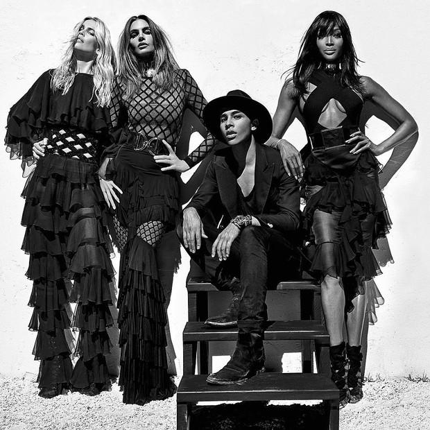 Claudia Schiffer, Cindy Crawford, Olivier Rousteing e Naomi Campbell na campanha de primavera-verão 2016 da Balmain Paris (Foto: Reprodução / Instagram)