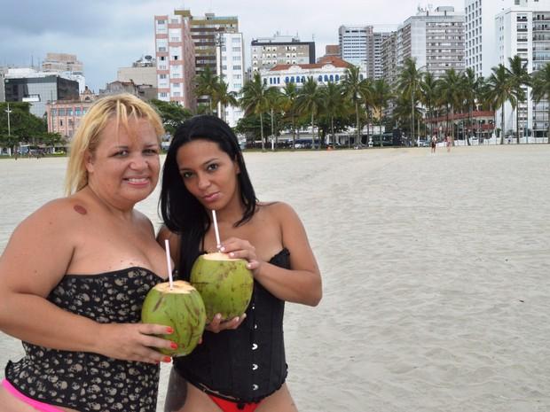 Mulheres conheceram cidade de Santos pela primeira vez (Foto: Guilherme Lucio/G1)