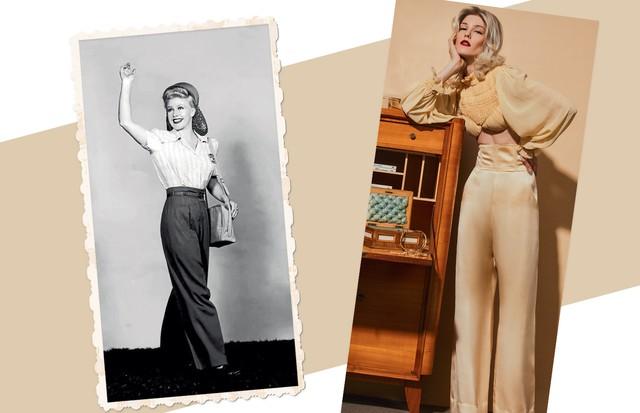 Amanda Brolese usa top (R$ 1.167) e calça (R$ 4.549), ambos Helo Rocha. Sobre a mesa, colar Prada (R$ 3.780) (Foto: Ivan Erick, Kurt Hutton e Keystone/Getty Images e MGM/Kobal/Rex/Shutterstock)