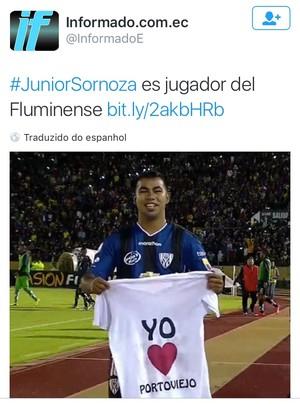 imprensa equatoriana fluminense sornoza (Foto: Reprodução)