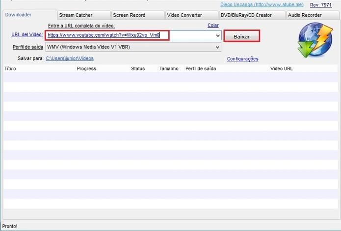 Insira a URL copiada no programa usado para baixar vídeos do YouTube (Reprodução/Paulo Finotti)
