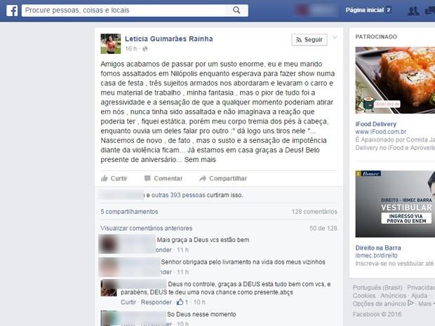 Letícia Guimarães conta na internet que foi assaltada  (Foto: Reprodução / Internet)