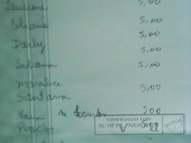 Anotações da paciente que organizou a vaquinha (Foto: Arquivo pessoal/Maria de Fátima Santana)