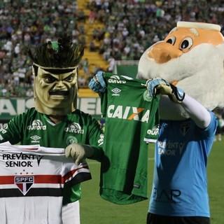 Mascotes São Paulo e Chapecoense (Foto: Rubens Chiri / saopaulofc.net)
