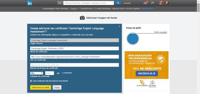 Edite as informações do certificado e clique em Adicionar ao perfil (Foto: Reprodução/Juliana Pixinine)