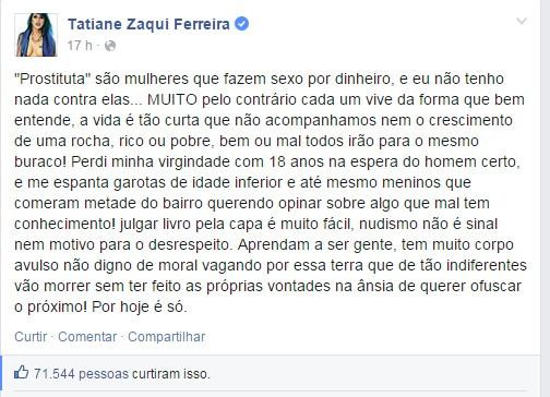 Tati Zaqui desabafa no Facebook (Foto: Reprodução/Facebook)