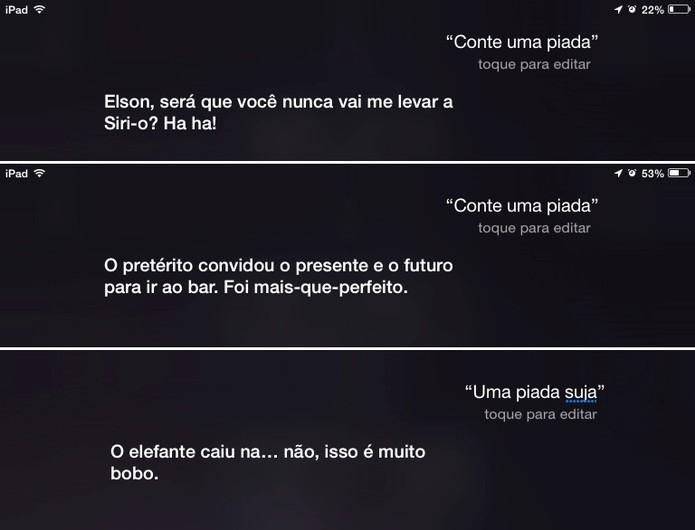 Siri é capaz de fazer piadas em Português a pedido do usuário (Foto: Reprodução/Elson de Souza)