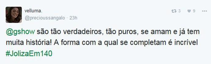 Casal completo é a definição de Joliza para @velluma no Twitter (Foto: Reprodução)