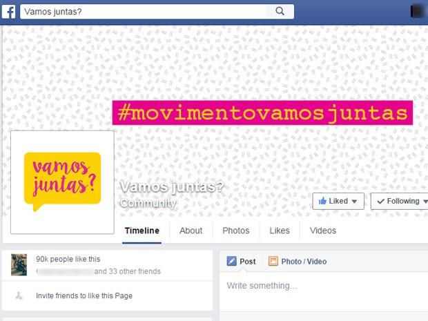 Página do movimento 'Vamos Juntas?' teve mais de 90 mil curtidas em duas semanas (Foto: Reprodução / Facebook)