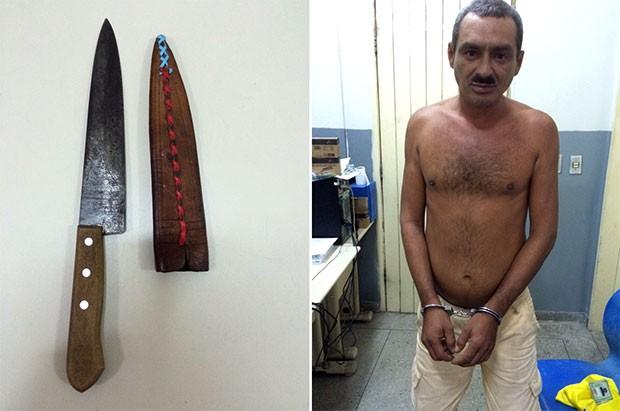 Faca usada no crime foi apreendida e suspeito preso em flagrante; segundo o delegado, Emílio Carlos de Nascimento confessou ter matado a irmã em Touros (Foto: Natanión de Freitas/G1)