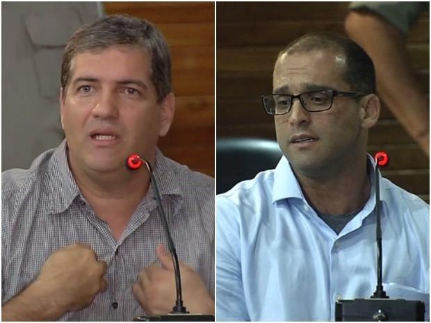 Alessandri e Frederico durante interrogatório no júri da morte de Martha Cozac, em Goiânia, Goiás (Foto: Reprodução/ TV Anhanguera)