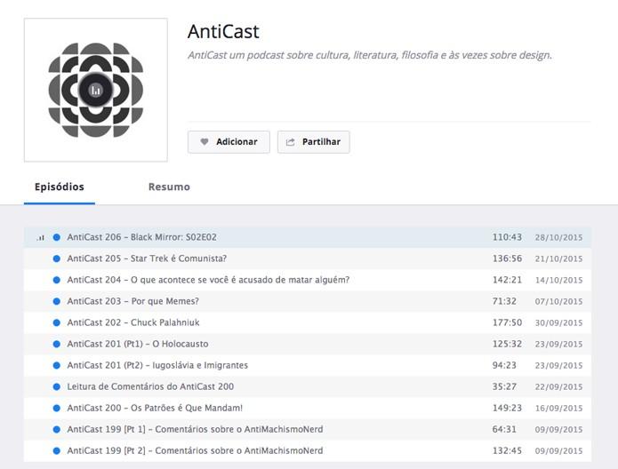 Lista completa do podcast para ouvir no Deezer (Foto: Reprodução/André Sugai)