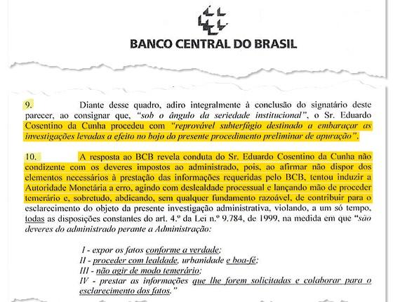 Documento do BC acusa Cunha de omitir contas no exterior (Foto: Reprodução/Época)